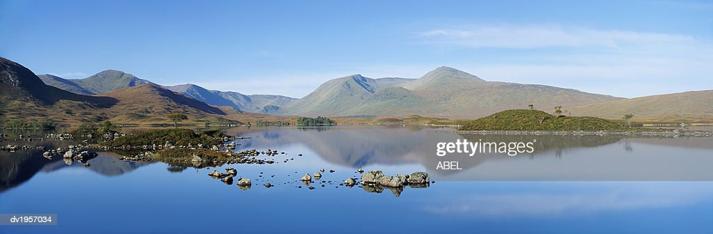 Black Mount and Lochan na h'Achlaise, Rannoch Moor, Scotland, United Kingdom : Stock Photo