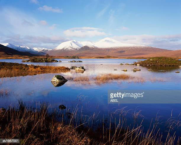 black mount, rannoch moor, strathclyde, scotland, great britain - snow scene stock photos and pictures