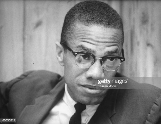Black Muslim Ldr Malcolm X explalining why he is quitting the sect during interview at restaurant
