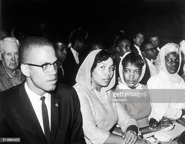 Black Muslim leader Malcolm X attends the trial of fourteen fellow Black Muslims in Los Angeles