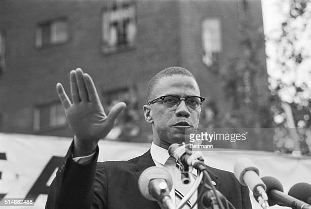Black Muslim leader Malcolm X speaks at a rally in Harlem, New York.
