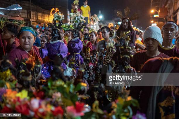 Black Nazarene replica is paraded on January 10 2019 in Manila Philippines The Black Nazarene is a dark wood sculpture of Jesus brought to the...