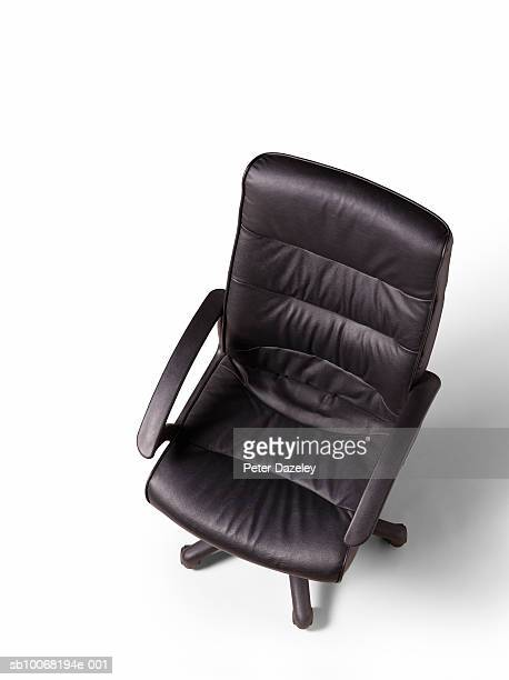 Black office chair, elevated view, studio shot