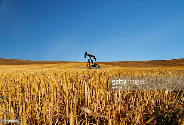 Black Oil Well Pumpjack With Blue Sky