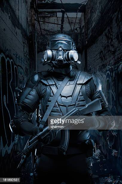 black ops tactical post apocalypse soldier ar-15 ak-47 - warrior person stock pictures, royalty-free photos & images
