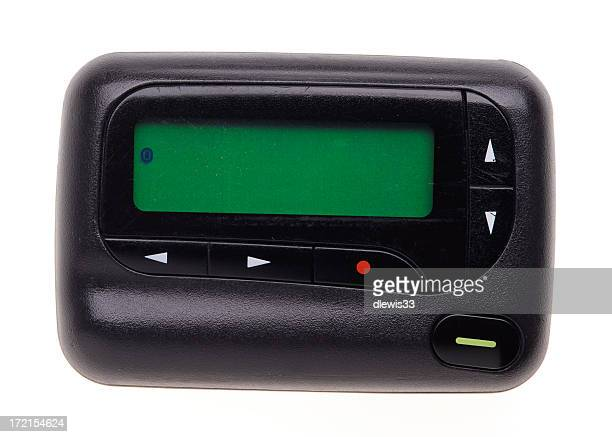 A black pager with green screen