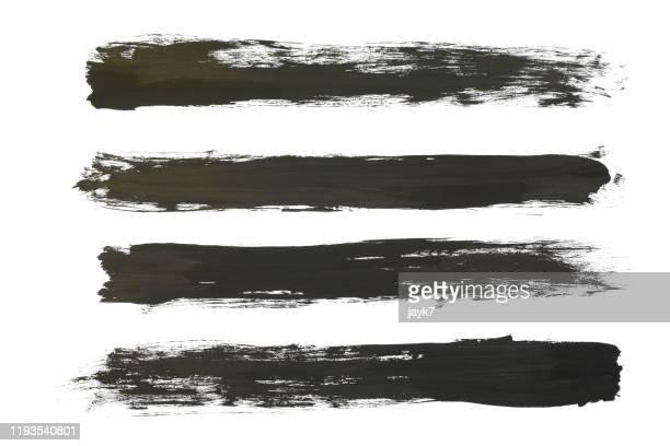 black paint strokes - acrylmalerei stock-fotos und bilder