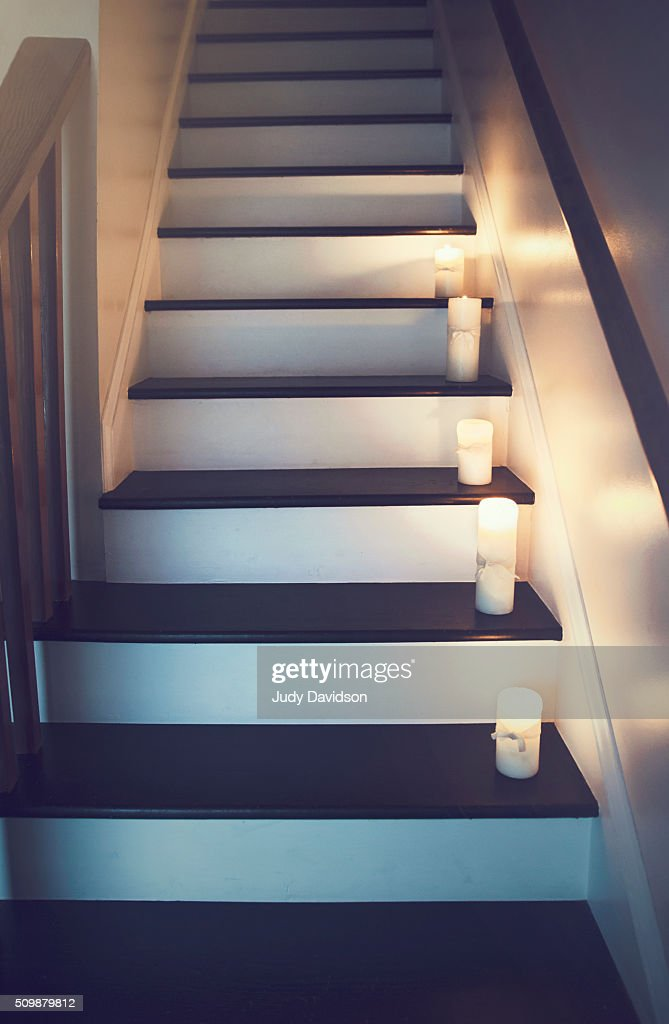 Black Painted Stairs With Lit Candles Steps Stock Foto Getty Images
