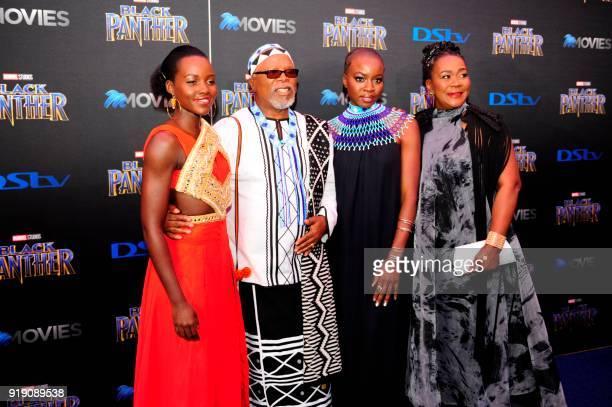 'Black Panther' cast members Kenyan actress Lupita Nyong'o South African film director John Kani US actress Danai Gurira and South African actress...
