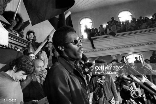 Black Panther chief of staff David Hilliard speaks at a rally at the start of the trial of the New Haven Nine New Haven Connecticut May 1 1970...