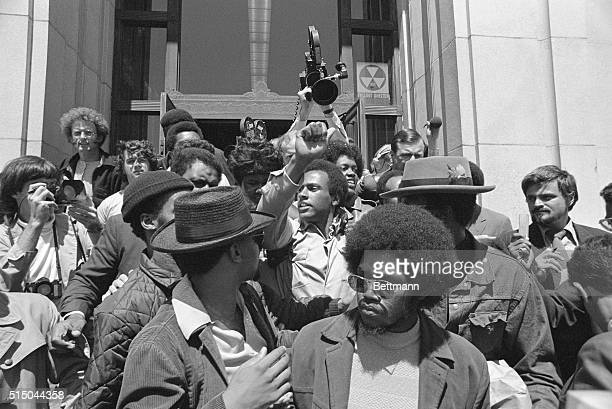 Black Panther cofounder Huey PNewton gives the black power salute as he leaves Alameda County Courthouse August 5 after being freed on $50000 bail...