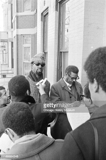 Black Panther deputy minister of information Rufus 'Chaka' Walls speaks during a press conference outside Illinois Black Panther Party chapter...