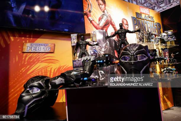"""Black Panther"" items are displayed for attendees at the Hasbro showroom during the annual New York Toy Fair, on February 20 in New York. Panther..."