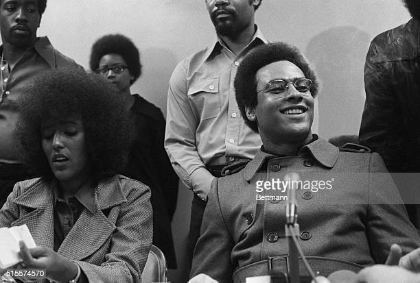 Black Panther leader Huey Newton holds a press conference in San Francisco after returning from a meeting with Chinese Premier Chou Enlai in China...