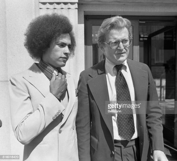 Black Panther leader Huey P Newton and his new attorney Michael Kennedy hold an impromptu news conference on the steps of the Alameda County...