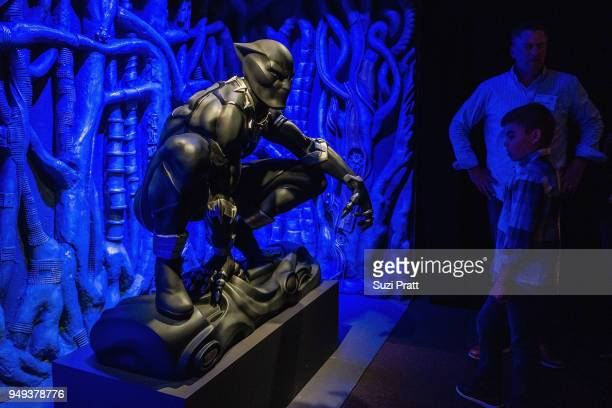 Black Panther original costume at Museum of Pop Culture on April 20, 2018 in Seattle, Washington.