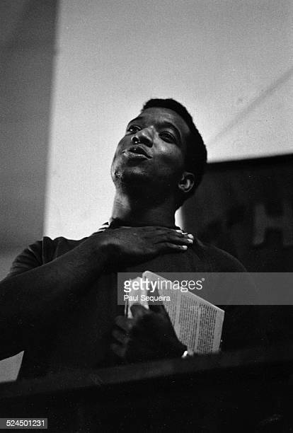 Black Panther Party leader Fred Hampton recently released from Menard Prison presides over a Panther wedding Chicago Illinois August 1969