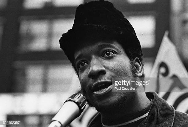 Black Panther Party leader Fred Hampton speaks outside the Dirksen Federal Building, Chicago, Illinois, 1969.