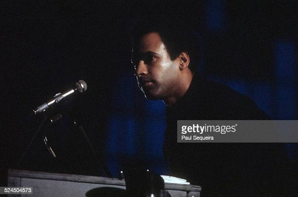 Black Panther Party leader Huey Newton speaks at the Chicago Coliseum Chicago Illinois April 1969