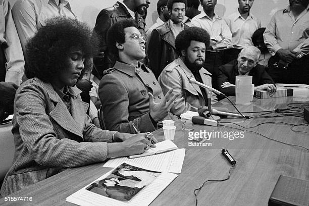 Black Panther Party leader Huey P. Newton holds a press conference on his return from China where he met with Chinese leader Chou En Lai.