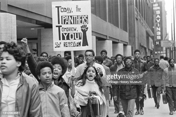 Black Panthers and Young Lords hold a protest march to the Federal Building and Civic Center , 50 West Washington Street, Chicago, Illinois, in...