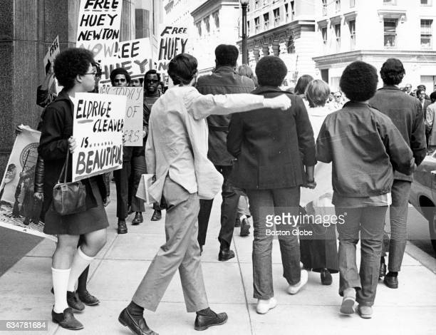 Black Panthers demonstration to free Bobby Hutton in Boston's Post Office Square May 1 1969