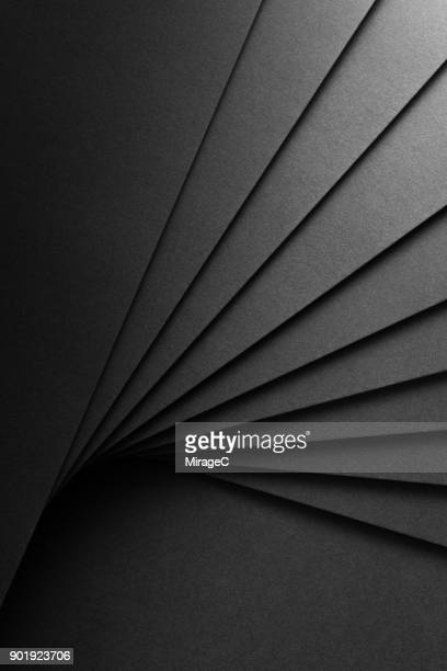 Black Paper Fan Shaped Stacking