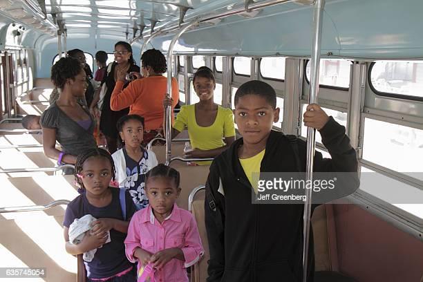 Black people on board the Montgomery Bus Boycott