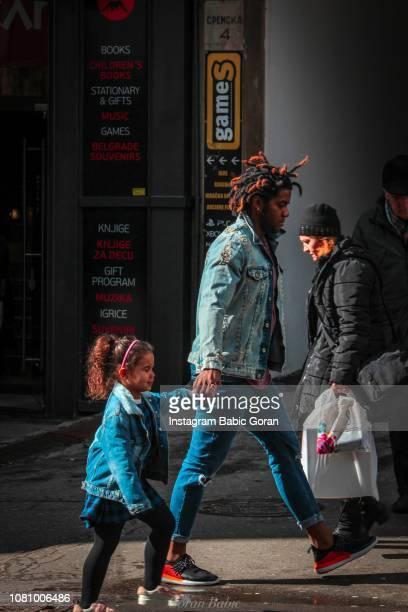 Black people walking on Belgrade street