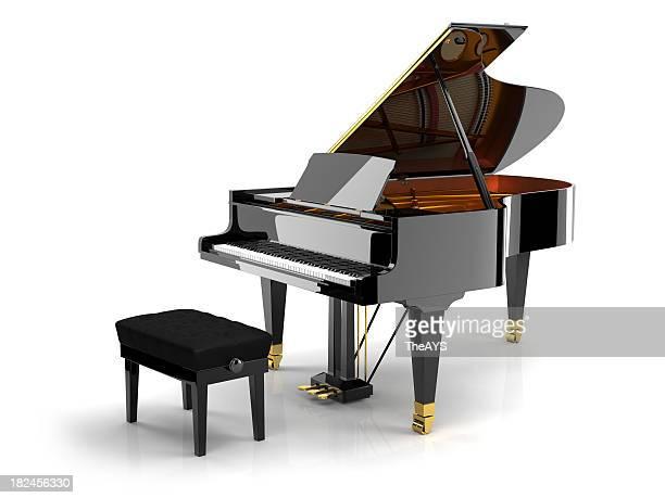 nero pianoforte su bianco - maestosità foto e immagini stock