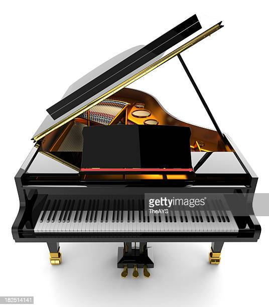 black piano - grand piano stock photos and pictures
