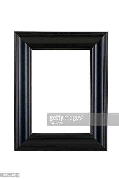 black picture frame in satin finish, white isolated - black border stock pictures, royalty-free photos & images