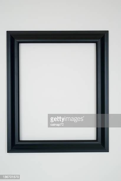 black picture frame, white background - black border stock pictures, royalty-free photos & images