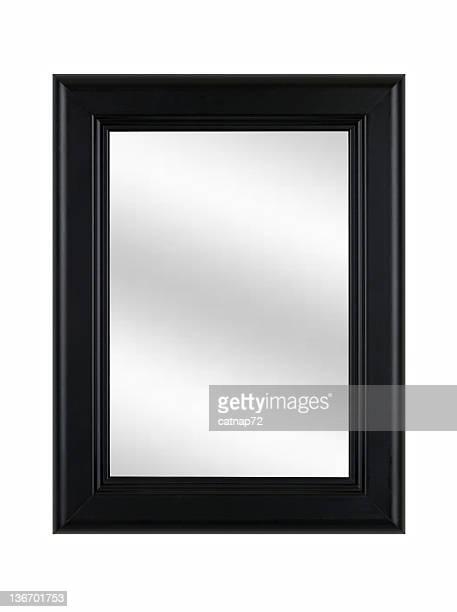Noir cadre photo classique avec miroir, isolé blanc