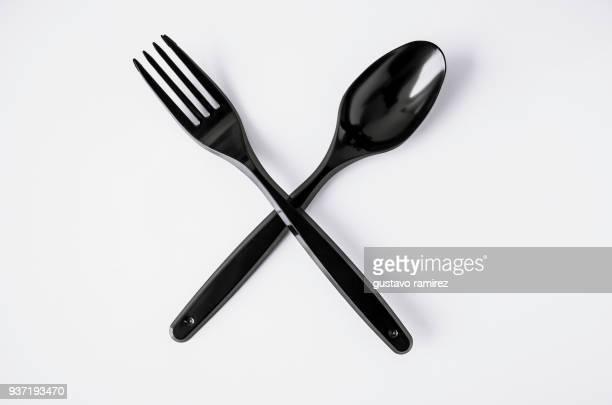 black plastic cutlery - faca faqueiro - fotografias e filmes do acervo