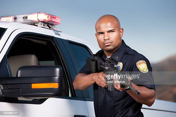 Black Police Officer with Assault Rifle