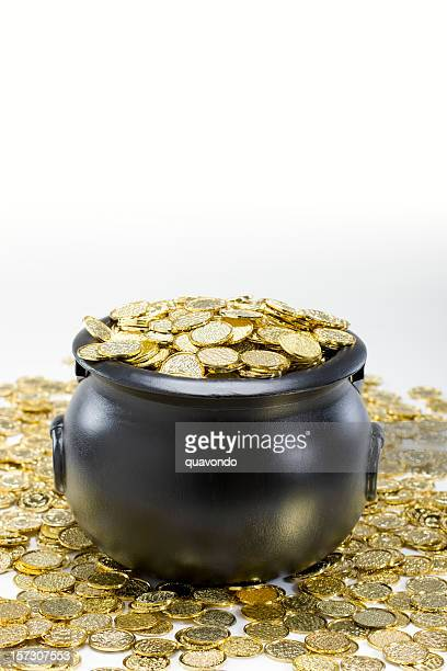 Black Pot of Gold with Coins on White, Copy Space