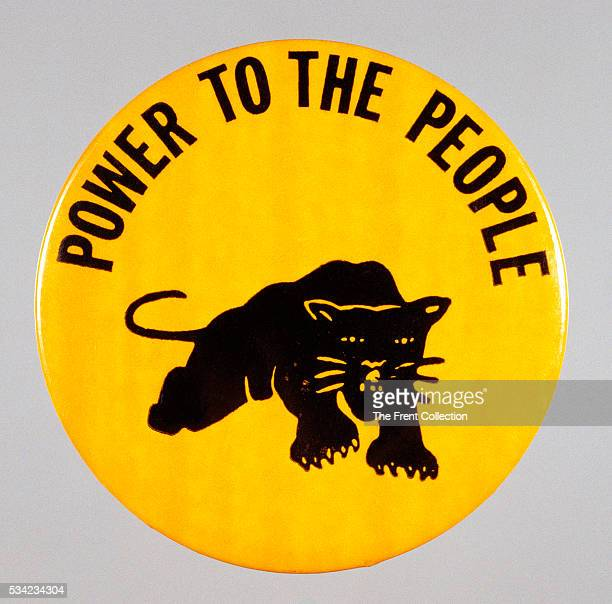 "Black Power pin showing the panther with ""Power to the People"" slogan adopted by the Black Panther party."