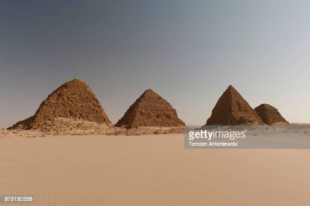 Black pyramids with a tomb guardian, pyramids of Meroe, Nubian Desert, Nubia, Nahr an-Nil, Sudan