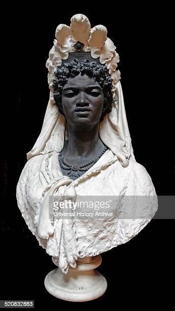 A Black Queen by Pietro Calvi 1881 Bronze bust with white marble