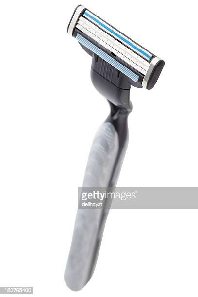 black razor on white background - razor stock photos and pictures
