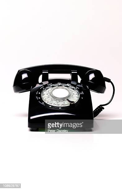 black retro telephone with copy space - the past stock pictures, royalty-free photos & images