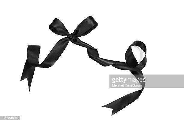 noeud en ruban noir - couleur noire photos et images de collection