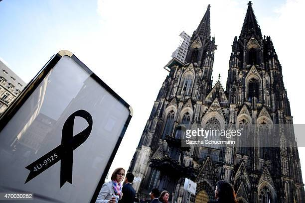 A black ribbon showing the flight number of Germanwings flight 4U9525 is displayed at the Dom cathedral ahead of a memorial service to commemorate...