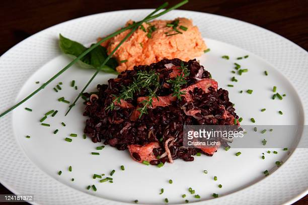 Black rice and salmon