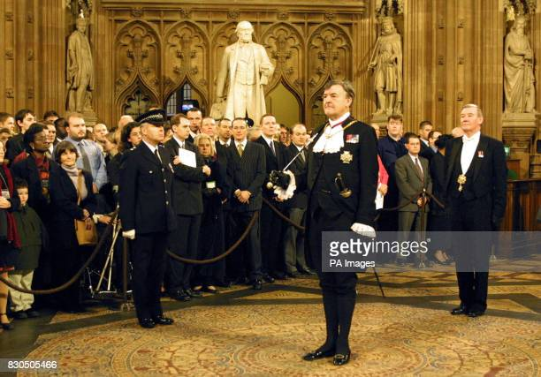 Black Rod General Sir Edward Jones stands in the central lobby of the Houses of Parliament before approaching the House of Commons to summon MP's to...