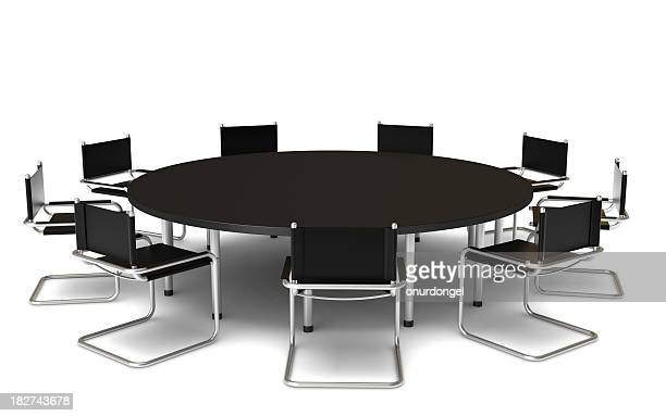 black round conference table with nine chairs - conferentietafel stockfoto's en -beelden