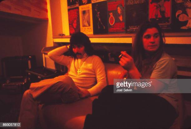 Black Sabbath guitarist Tony Iommi and vocalist Ozzy Osbourne wait to perform at the Fillmore West on November 22 1970 in San Francisco California