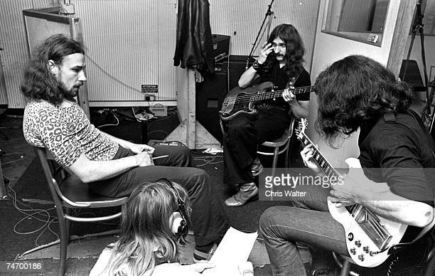 Black Sabbath June 17 1970 Geezer Butler Tony Iommi Ozzy Osbourne and Bill Ward at Regents Sounds during Paranoid sessions