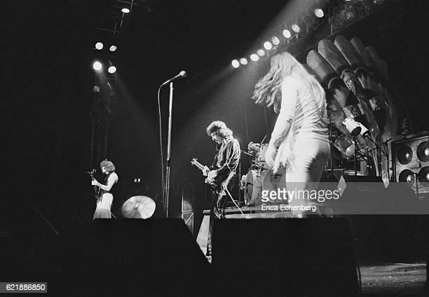 Black Sabbath perform on stage Hammersmith Odeon London January 1976 LR Geezer Butler Tony Iommi Ozzy Osbourne